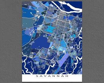 Savannah Map Art Print, Savannah Georgia, USA City Map