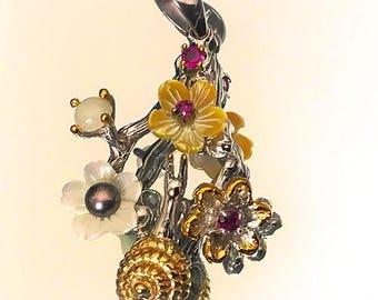 Magic Garden' Opal Pearl Garnet Sterling Silver Pendant