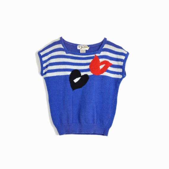 Vintage 80s Nautical Stripe Summer Sweater in Red White & Blue / Heart Sweater / Short Sleeve Sweater - women's small