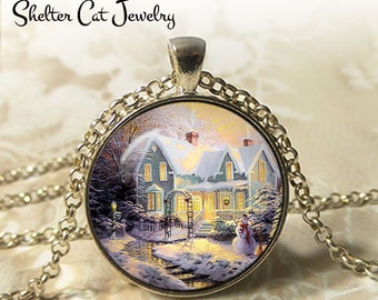 "Winter Wonderland with a Snowman - 1-1/4"" Circle Pendant or Key Ring - Photo Art Jewelry - Vintage Christmas, Snowy Scene, Holiday Gift"