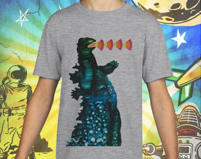 Retro 50s Godzilla Monster / Soviet Era Poster  / Gray Child Size Performance T-Shirt