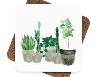 Plant Coasters, set of 4 coasters, cactus coasters, plant coaster set, cactus coaster set, succulent coasters, plant lover gift, cactus gift