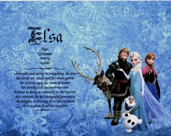 FR0ZEN Personalized Name Meaning Print -with Anna, Elsa, Olaf, Kristoff and Sven