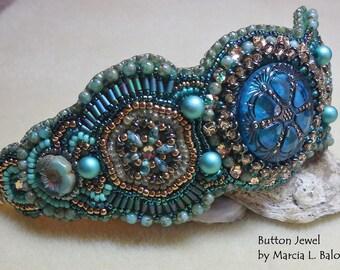 Pattern Tutorial Button Jewel bead embroidery cuff bracelet
