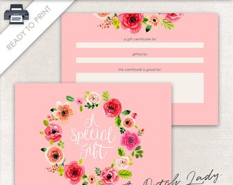 Printable Gift Certificate Design - 7 x 5 Postcard Size - Gift Card - Ready To Print - INSTANT DOWNLOAD - Design #3