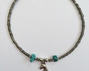 Boho Seahorse Bracelet/Anklet 5 Sizes, Beach Bracelet, Beaded Anklet, Turquoise Ankle Bracelet by InTheMomentUK