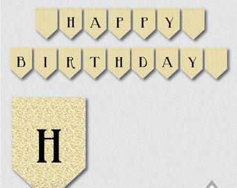 Happy Birthday Banner, Gold Glitter Banner, Printable Banner, Black and Gold Party, Birthday Banner, Printable PDF, Gold and Black, download