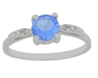 1 Ct Tanzanite & Diamond Round Ring .925 Sterling Silver Rhodium Finish