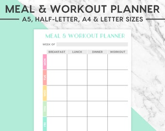 New! MEAL & WORKOUT PLANNER Printable | Pastel, A5, Half-Letter, A4, Letter, Meal Planning, Meal Plan, Food Plan, Food Planner
