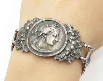 925 sterling silver - vintage antique victorian style 32mm cameo bracelet b1179