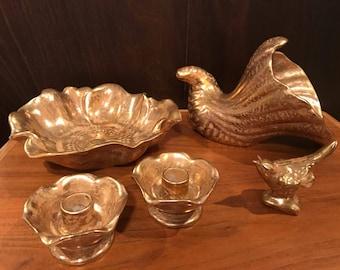 Stangl Granada Gold table set. Bowl, candle holders, horn of plenty, bird, vase