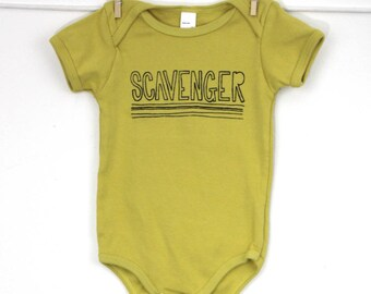 Organic baby one piece bodysuit scavenger print funny baby gift curious baby