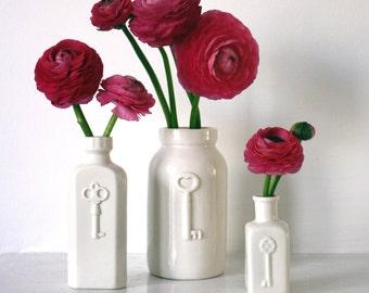 key bottle vase, handmade in porcelain