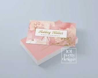 Watercolor business card design golden printable business card design gold pink business cards custom busienss card gold glitter