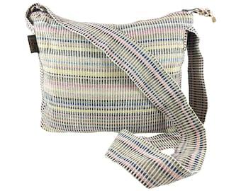 Nepal Fair Trade Striped Messenger, Nepal Hippie Cotton Handbag, Woven Crossbody, Boho Beige Yellow Pink Blue Shoulder Bag, Large Carry all