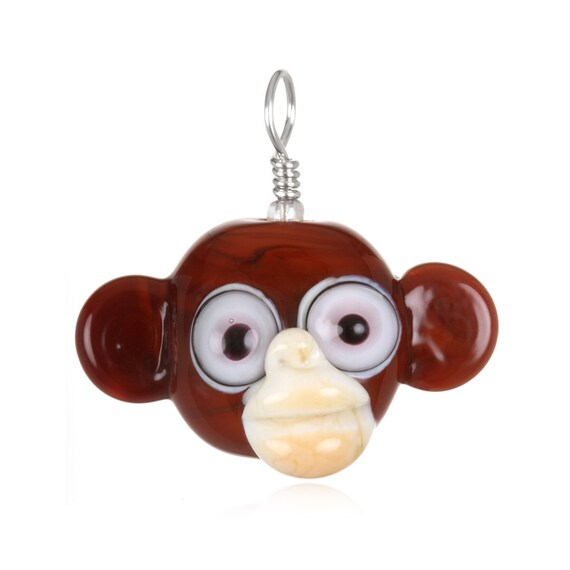 Glass Monkey Pendant Necklace on Leather