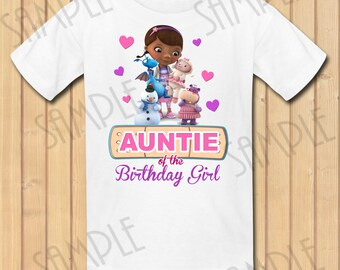 Disney Doc McStuffins Auntie of the Birthday Girl INSTANT DOWNLOAD Personalized Matching birthday party shirts Iron on transfer Printable