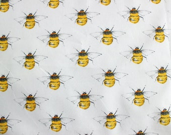 Bees fabric, white bumble bee cotton fabric, white bees quilting cotton fabric, Rose and hubble bees fabric cotton poplin, UK sewing shop