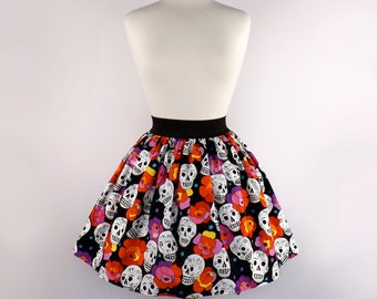ON SALE!! Mexican Stars, Skulls And Flowers  Day of the Dead Full Skirt