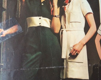 Gorgeous Jumpsuit and Coatdress pattern by Chuck Howard-- Vogue Americana 2370---Size 12 Bust 34