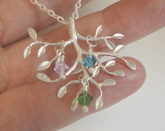 Birthstone Tree Necklace Silver Tree Necklace Tree of Life Necklace Personalized Jewelry Mom Child Necklace