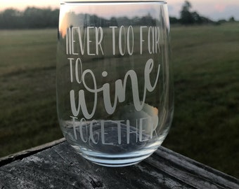 Never too far to wine together etched stemless wine glass | best friend gift | going away present | long distance friendship