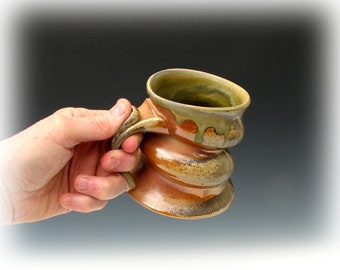 WOODFIRED MUG #21 - Wood Fired Mug - Stoneware Mug - Wood Fired Coffee Mug - Wood Fired Tea Mug - Large Mug - Big Mug - Anagama Mug