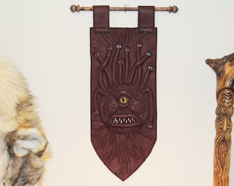 Beastly Banner- Beholder(Burgundy Green Leather and Yellow eye)