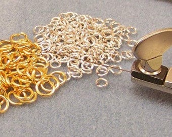 100 Non tarnished Silver/gold plated or copper jump rings. Hand sawn. Any size. Gauge (20ga) 0.8mm, (18ga) 1mm, (16ga) 1.25mm, (14ga) 1.5mm