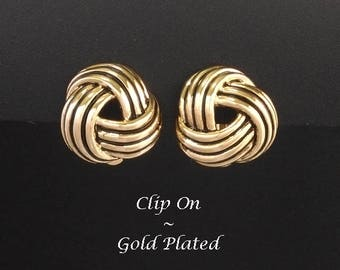 Clip On Earrings: Gold Plated Clip On Earrings in a Celtic Knot Design | ClipOn Earrings, Gold Clip On Earrings, Costume Earrings 358
