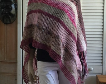 One-of-a-kind multi yarn knit Poncho Wrap pink, rose, mauve, gray, white, fringes, Boho