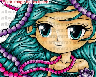 Digi Stamp - Pearl, Big eyed girl Coloring page, Pretty girl Digital Stamp, Line art for Card and Craft Supplies, Art by Mi Ran Jung