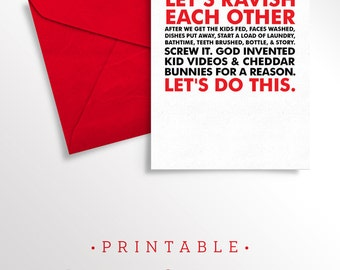 Printable Valentine for Husband | Printable Valentine for Wife | Naughty Card