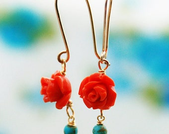Coral and turquoise rose gold earrings, turquoise earrings, flower earrings, red flower earrings, gold flower earrings