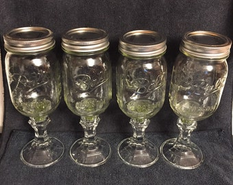 Ball  Mason Pedastal Glass Canning Jar with lid -Green Glitter (Set of Four)