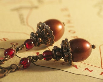 Cranberry - Long Burgundy Red Pearl Earrings in Antiqued Copper