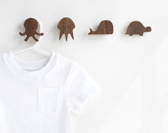 Sea creature wall hooks - set of 4