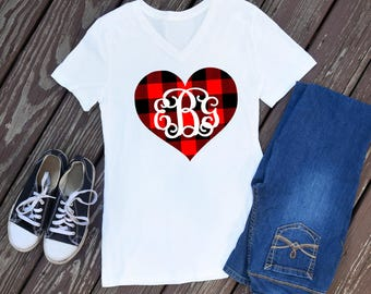 Personalized Red Plaid Heart Bella Canvas Vneck - women vneck t shirt - bella canvas - valentines outfit - Valentines shirt