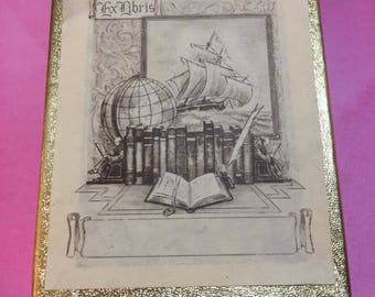 """Vintage Antioch Bookplate labels """"Sailing Ship Books Ex Libris"""" Made in USA"""