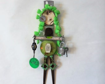Original Mixed Media Art, Altered Art Doll, Artdoll, Level Headed, Friend Support Gift, Best Girlfriend Gift, Support Friend, Steampunk Art