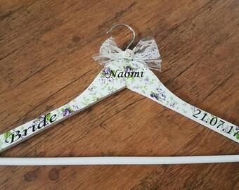 Floral wedding hanger, Bridesmaid hangers, wedding dress hanger, personalised bridal hangers, personalised wedding dress hanger