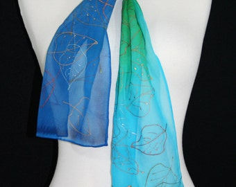 Teal Silk Scarf. Green Hand Painted Silk Shawl. Blue Handmade Silk Scarf ASPEN LEAVES. Size 8x54. Birthday Gift, Mother Gift. Gift-Wrapped