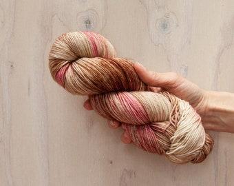 Hand dyed yarn, merino yarn, nylon yarn, sock yarn, hand dyed sock yarn, variegated yarn, pink yarn, mauve yarn, brown yarn, fingering yarn