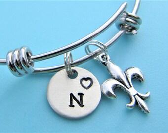 Fleur de Lis Bracelet, Fleur de Lis Charm Bracelet, Fleur de Lis Jewelry, French Jewelry, Louisiana symbol bangle,  Fleur de Lis Gifts