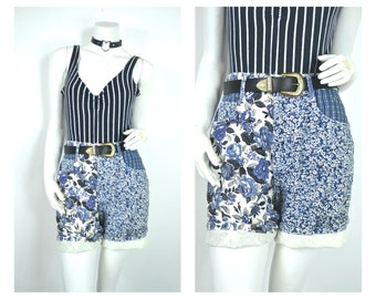 90s 80s colorblock patchwork Floral plaid navy blue High Waisted shorts