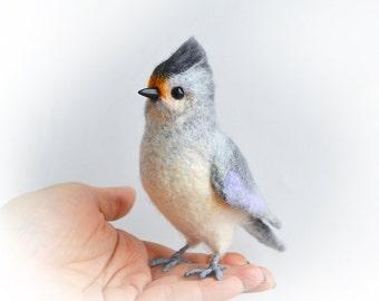 Realistic felt toy- Tufted Titmice - also known as Grey-crested Titmice. Wildlife lifelike felt art.