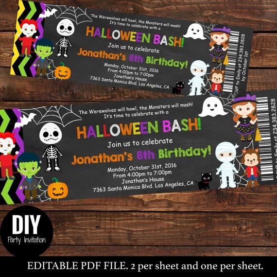 Halloween ticket birthday invitations kids party halloween filmwisefo Images