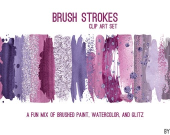 Purple Brush Strokes Paint Watercolor Glitter Foil Clipart 20 Images PNG Files 12 Inches Commercial Use Graphics Digital Clip Art Set 1