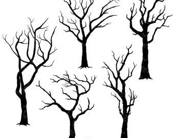 "Tree Silhouettes Clipart ""Tree SILHOUETTES"" clip art pack,Tree Branchs,Branchs,Silhouettes,Branch,Scrapbook, Instant Download Sh002"