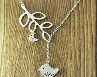 925 sterling Silver Mom and baby bird Necklace with Branch, Family initials pendant mother's gift Mom's necklace Mommy Necklace